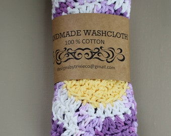 100% Cotton Washcloths / Dishcloths Adorable Flowers (set of 2)
