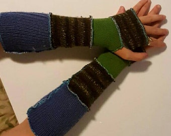 patchwork recycled sweater arm warmers - greens and blue