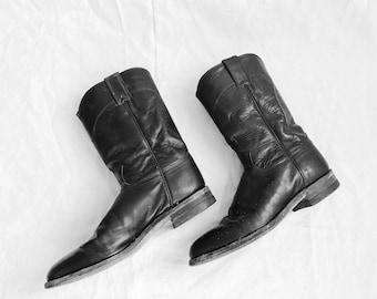 Vintage Justin Black Leather Western Boot 8.5