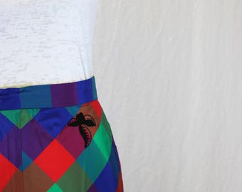 Vintage 1970's Multi-Colored Plaid Maxi Skirt with Black Embroidered Details
