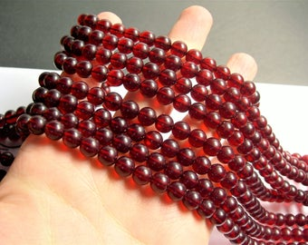 Amber Reconstituted - 8mm (7.7mm) round - 1 full strand - 48 beads - Gognac Amber - RFG1268