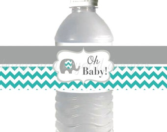 Water Bottle Labels Printable Baby Shower Oh Baby Shower Aqua Grey Chevron Elephant diy Labels INSTANT DOWNLOAD DIY Party Supplies 026