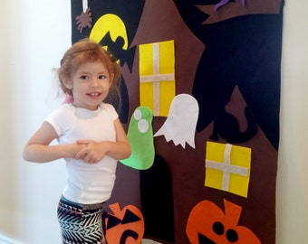 Halloween Decor: Interactive Felt Wall. Halloween Learning Activity, Halloween for kids, Haunted House art, Halloween gift Haunted House art