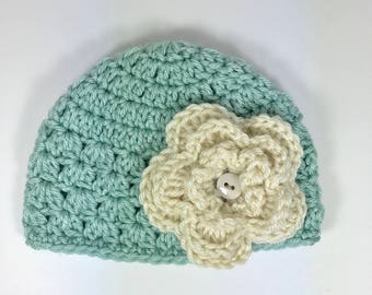 crochet baby hat, baby girl hat, 3-6month baby hat, blue hat, baby hat with flower