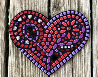 Mosaic Heart, Wall Hanging Heart, Mixed Media Heart, Purple and Red heart, One of a Kind, Heart Plaque, Heart Mosaic, Love Heart