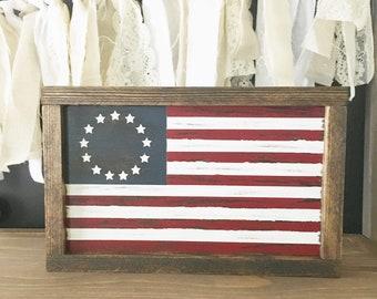 Betsy Ross American Flag - Rustic American Flag - Framed American Flag