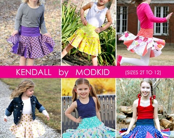 Kendall Twirly Skirt PDF Downloadable Pattern by MODKID... sizes 2T to 12 Girls included - Instant Download