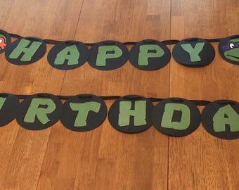 Ninja Turtle Birthday Banner***FREE SHIPPING***