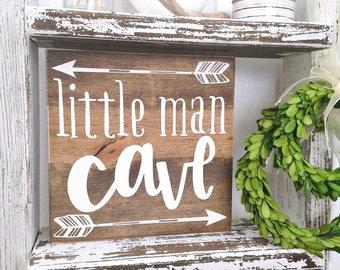 Little man cave, woodland nursery decor, adventure nursery, rustic nursery, boy nursery, baby boy gift, woodland baby shower, nursery sign
