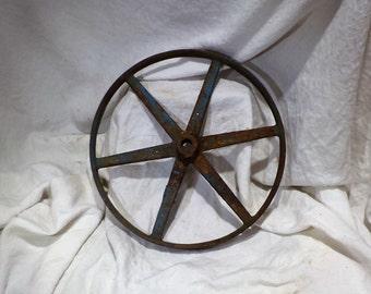 Old Industrial Wheel or Cog, Pulley Wheel, Industrial Factory Salvage