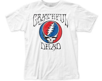 Grateful Dead Llogo/Steal Your Face Men's Soft Fitted 30/1 Cotton Tee (GD04) White