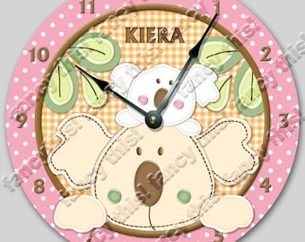 """TROPICAL PUNCH Personalized Wall Clock - Birthday Gift - Nursery Clock - Large 10.5"""" Wall Clock - Round Wall Clock - Kids Room - Wall Decor"""