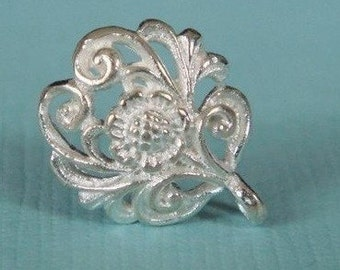 Sterling Silver Floral Ear posts  from Bali-12x10 mm
