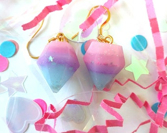 Starry Pastel Resin Diamond Crystal Earrings 14k Gold Plated Hooks // Fairy Kei Decora Unicorn Jewelry Harajuku Fashion Pop Kei Jfashion