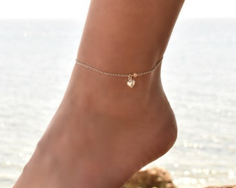 Heart Anklet Sterling Silver, Anklet, Delicate Anklet bracelet, Dainty Anklet Silver, Anklet for Women, Anklet Jewelry, Ankle Chain Charm