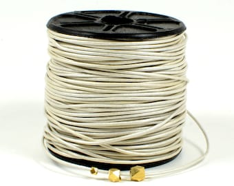 Metallic White Leather Cord, 1mm, Round Leather Cord, Genuine Leather Cord, Lead Free, RETAIL -- 1 YARD/order