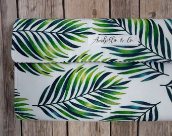 Diaper Clutch- The Tropics, Diaper Clutch with Changing Pad, Diaper Holder, Diaper Clutch Pockets, Palm Leaves