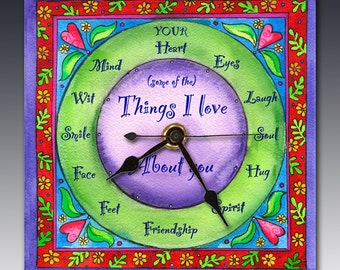 Things I Love About You Clock