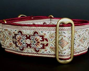 "Cream & Burgundy 2"" Martingale Collar"