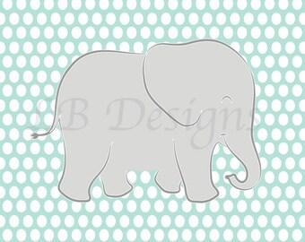 Gender Neutral Nursery Decor, Gray and Aqua Nursery, Elephant Nursery Print, Jungle Nursery Decor - 8x10