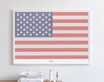 American Flag. Complete history of the United States in a single poster.  + 5X MAGNFIYING GLASS  (27.5 in x 19.7 in)