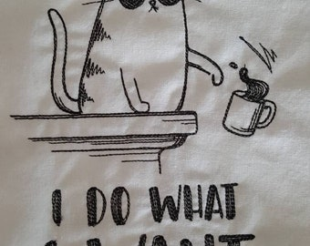 Bar or Kitchen Flour Sack Towel, Farmhouse Kitchen Towel, Funny Embroidered Cotton Dish Towel, Bar Hand Towel