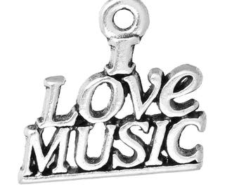 "10 PCs Antique Silver ""I Love Music "" Charms, 19mm( 6/8"") x 18mm( 6/8"")"