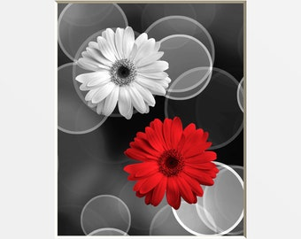 Red Gray Modern Wall Art, Daisy Flowers, Red Living Room, Bedroom Home Decor Matted Picture