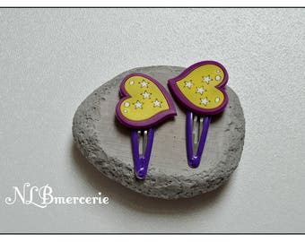 Barrettes Click - Clack heart purple and yellow set of 2 kids