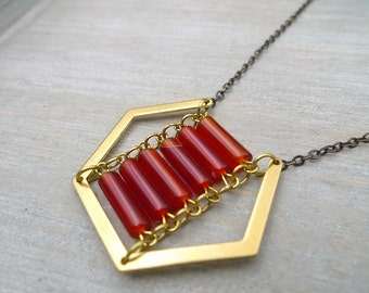 Long necklace, Red Agate and raw brass necklace, hexagon necklace, Long geometric necklace