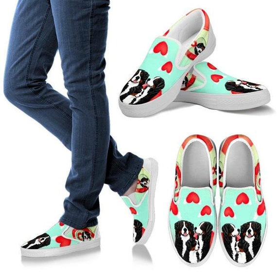 Bernese Mountain Print Slip Ons Shoes For Women