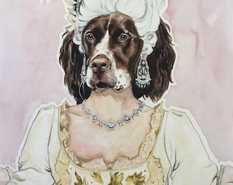 Print of Marie Antoinette Dog Character-Dog Portraits-Dog Painting