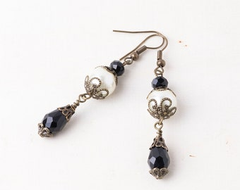 Baroque Inspired Black Crystal and Glass Pearl Teardrop Earrings-Antique style Filigree Bead caps