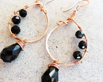 Copper Earrings Wire-wrapped Handmade Black Teardrop Crystal Dangle Earrings By Distinctly Daisy