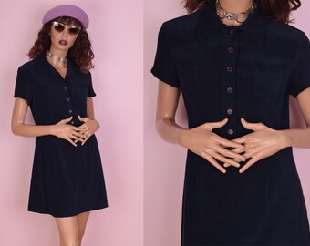 90s Blue Shirt Dress/ Medium/ 1990s/ Short Sleeve