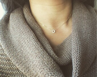 Diamond Circle Necklace, 14K Solid Gold Diamond Circle Necklace, Double Sided Diamonds circle Necklace, Diamond Necklace, Diamond Pendant