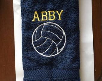 Personalized volleyball towel in terry velour. Fast turn ariund, 3 business days or less.