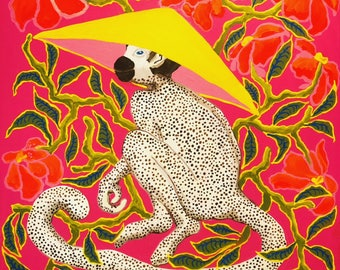 Monkey in Yellow hat on Hot Pink