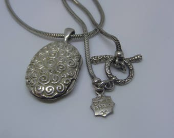 Dower and Hall Sterling Silver Spiral Locket Necklace