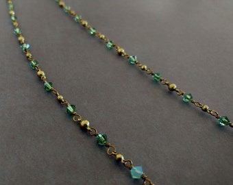 Teal, Blue and Pale Blue Swarovski Crystals on a Gold-Plated Brass Ball Chain Motif  Gold-Plated Brass Chain