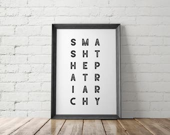 Feminist Wall Art, Feminist Printable, Resist Poster, Smash the Patriarchy, Feminist Poster, The Resistance, She Persisted, Girl Power