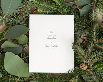 Cheer - Happy New Year card - new year's letterpress cards - Cheers! - Happy 2018 - Happy Holidays - Seasons Greetings by Of Note Stationers