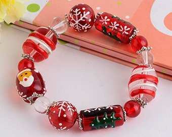Christmas bracelet kit,gift,lampwork beads,DIY kit,jewelry supplies,components-for your kid to make her own Christmas gift