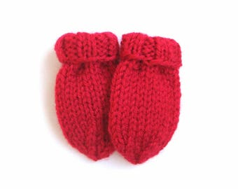 Hand Knit Baby Mittens, Scarlet Red No Thumb Mittens Size 3 to 6 Months Gender Neutral Warm Winter Clothes, Handmade Gift, Hand Warmer Mitts