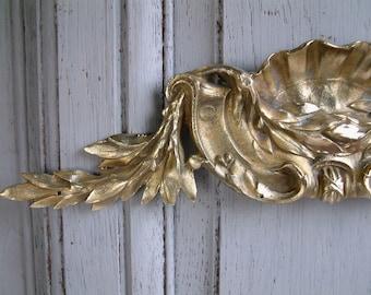 Antique french bronze furniture pediment / ornament. Louis XV style Antique hardware. Bronze swag. Architectural salvage. Repurpose. DIY