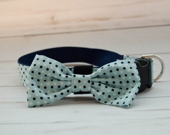 Baby Blue Polka Dots Dog Bow Tie Collar