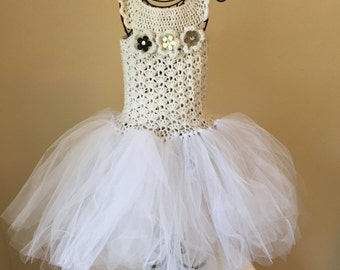 White and Silver Tulle Party Dress 5T