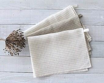 Set Of 3 Linen Tea Towels. Linen Kitchen Towels. Linen Hand Towels. Linen