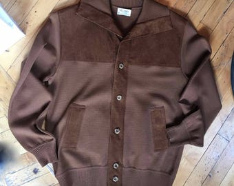 1970's Men's Knit and Suede Brown Cardigan Sweater