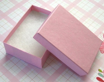 10 Cotton Filled Jewelry Boxes Matte Pink High Quality 3 1/8 x 2 1/4 x 1 inch - Medium
